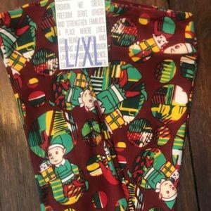 LuLaRoe L/XL Kids Elf Holiday Christmas Leggings